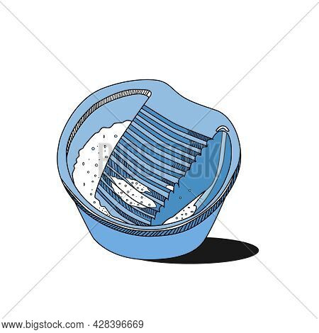Sketch Of A Blue Plastic Basin With A Washing Board On A White Background. The Concept Of A Home Lau