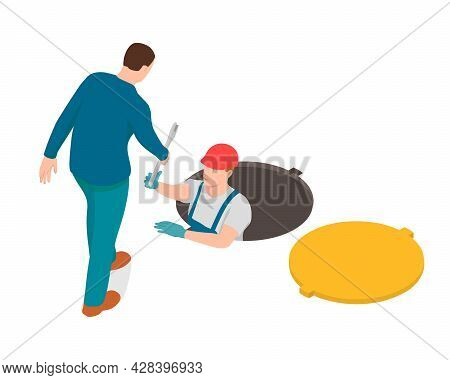 Worker Is Giving A Wrench To A Plumber. The Plumber Is Working In A Hatch And Man Is Helping Him.