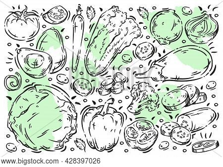Hand Drawn Vector Illustration Food On White Board. Doodle Line Vegetables: Avocado, Onions, Chinese