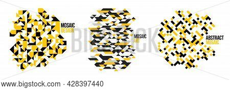 Abstract Bright Black And Yellow Mosaic Vector Backgrounds Set, Artistic Design Elements Trendy Mode