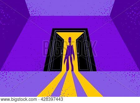 Nightmare Monster Comes Into Dark Room Bedroom Vector Stylish Illustration, Funny Cartoon Ghost Crea