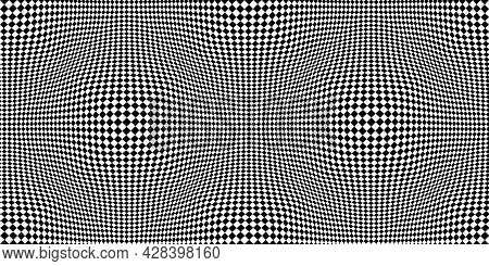 Checkered Seamless Pattern With Optical Illusion Of Spherical Volume, Black And White Geometric Abst