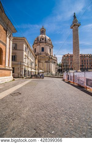 Rome, Italy - Juny, 2021: Piazza Venezia Is A Famous Square In Rome. It Is Located At The Foot Of Th