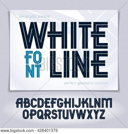 Set Of Vector Capital Alphabet Letters Made With White Lines, Can Be Used For Logo Creation In Publi