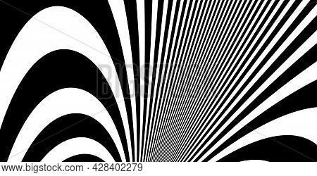 Op Art Distorted Perspective Black And White Lines In 3D Motion Abstract Vector Background, Optical