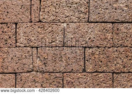 Brown Laterite Stone Wall Outside The Building At The Ancient Site