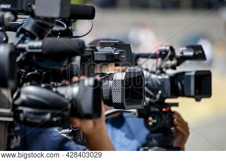 Bucharest, Romania - July 25, 2020: A Panasonic Handheld Camcorder Of A News Tv Channel Is Seen At A