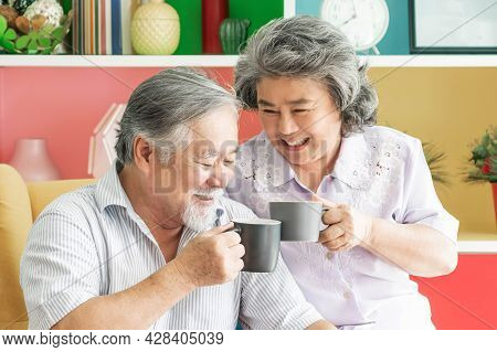 Senior Couple Happy Love Smile Face, Old Man And Senior Woman Relaxing On Living Room Drinking Coffe