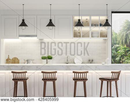 Luxury White Kitchen Counter 3d Render, Decorated With Wooden Stool And White Kitchen Counter And A