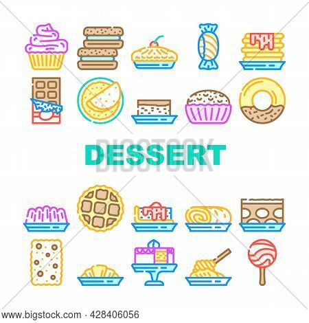 Dessert Delicious Food Collection Icons Set Vector. Donut With Chocolate Cream And Fruity Lollipop C