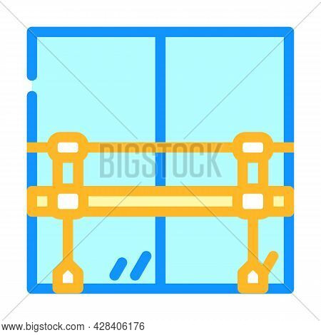 Railings With Mirror In Dance Studio Color Icon Vector. Railings With Mirror In Dance Studio Sign. I