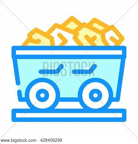 Coal Cart Color Icon Vector. Coal Cart Sign. Isolated Symbol Illustration