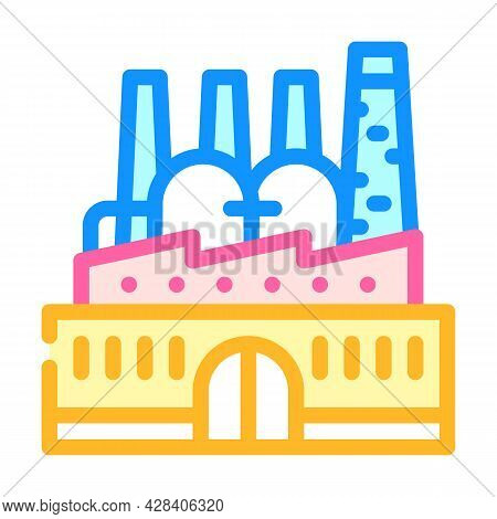 Power Plant Infrastructure Color Icon Vector. Power Plant Infrastructure Sign. Isolated Symbol Illus