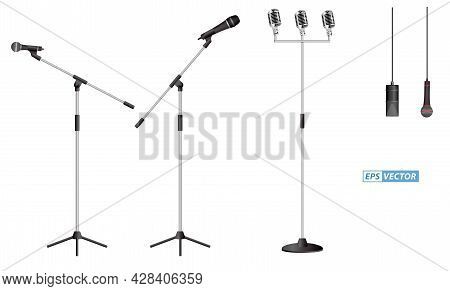 Set Of Realistic Microphone Or Mic Standing At Podium Or Classic Mic Concept. Eps Vector