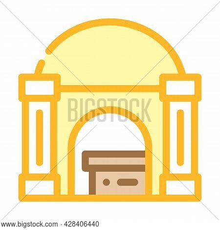 Funeral Crypt Color Icon Vector. Funeral Crypt Sign. Isolated Symbol Illustration