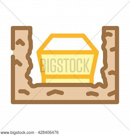 Coffin In Ground Color Icon Vector. Coffin In Ground Sign. Isolated Symbol Illustration