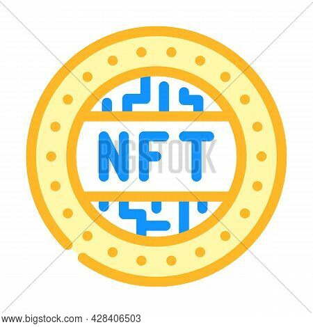 Nft Token Color Icon Vector. Nft Token Sign. Isolated Symbol Illustration