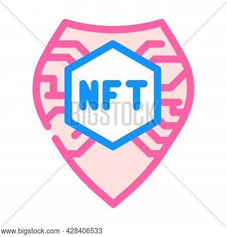 Nft Shield Color Icon Vector. Nft Shield Sign. Isolated Symbol Illustration