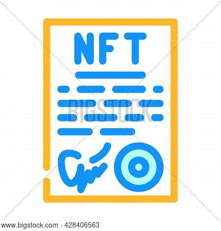 Approved Virtual Nft Contract Color Icon Vector. Approved Virtual Nft Contract Sign. Isolated Symbol