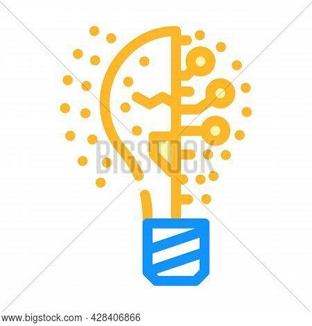 Lightning Innovative Idea Color Icon Vector. Lightning Innovative Idea Sign. Isolated Symbol Illustr