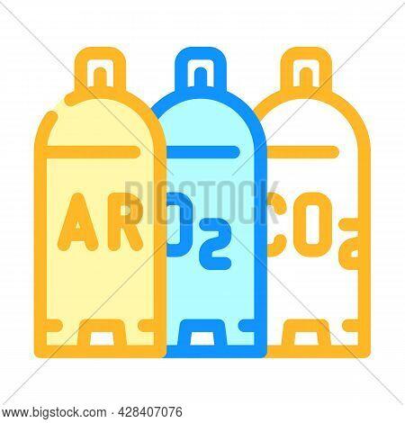 Welding Gases Argon, Oxygen, Carbon Dioxide Color Icon Vector. Welding Gases Argon, Oxygen, Carbon D