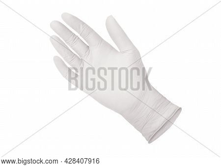 Medical Nitrile Glove. White Surgical Gloves Isolated On White Background With Hands. Rubber Glove M