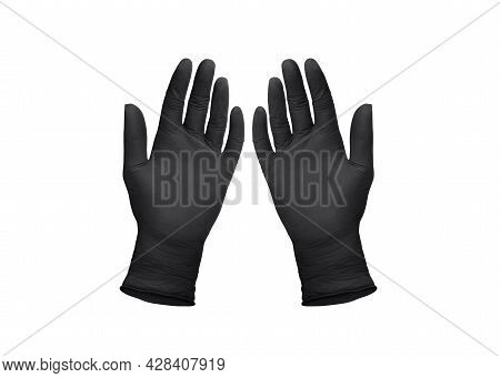 Medical Nitrile Gloves. Two Black Surgical Gloves Isolated On White Background With Hands. Rubber Gl