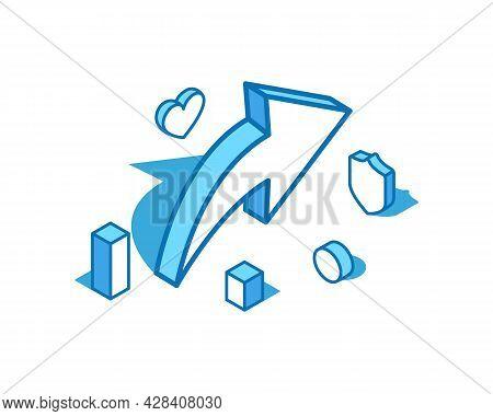 Share Sign Blue Line Isometric Illustration. Feedback, Forward Message, Testimonial 3d Banner Templa