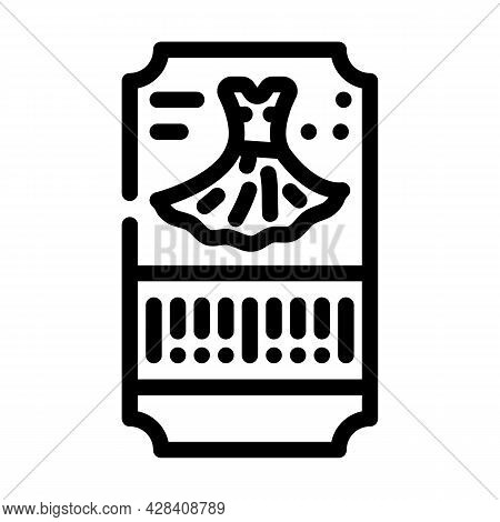Dance Dress Ticket Line Icon Vector. Dance Dress Ticket Sign. Isolated Contour Symbol Black Illustra