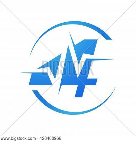 New Custom Sporty Number Four 4 Logo Combined With Heartbeat Vector Design Illustration