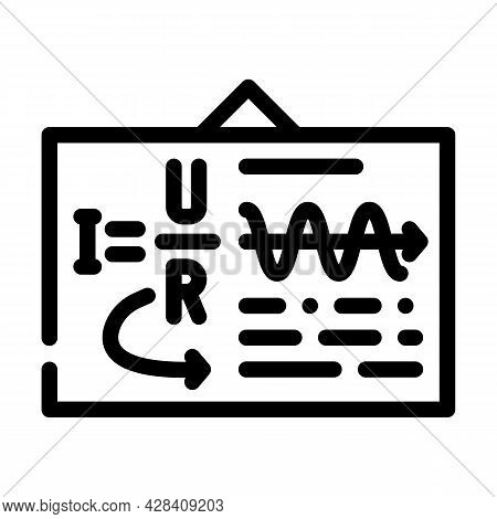 Board With Ohm Law Line Icon Vector. Board With Ohm Law Sign. Isolated Contour Symbol Black Illustra