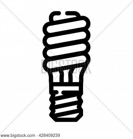 Electric Economy Lamp Line Icon Vector. Electric Economy Lamp Sign. Isolated Contour Symbol Black Il