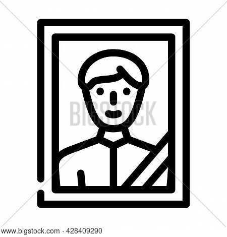 Portrait With Funeral Ribbon Line Icon Vector. Portrait With Funeral Ribbon Sign. Isolated Contour S