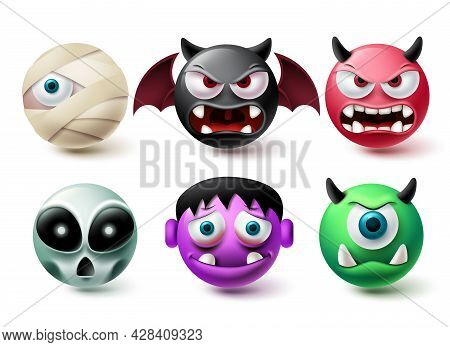Emoji Halloween Emoji Vector Set. Emojis Horror Character Icon Collection Isolated In White Backgrou