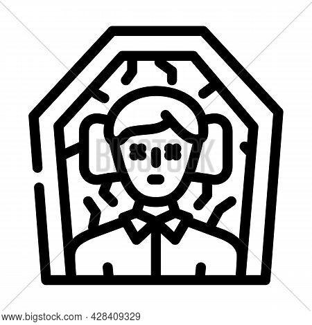 Dead Man In Coffin Line Icon Vector. Dead Man In Coffin Sign. Isolated Contour Symbol Black Illustra