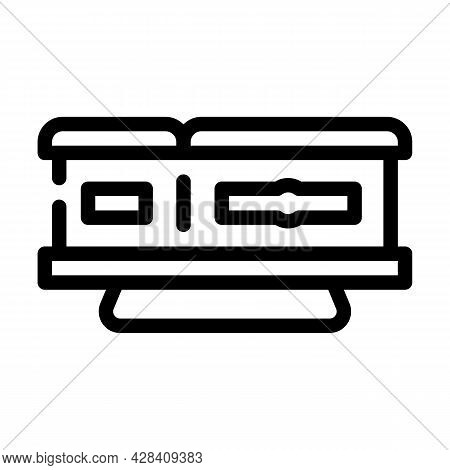 Coffin On Stand Line Icon Vector. Coffin On Stand Sign. Isolated Contour Symbol Black Illustration