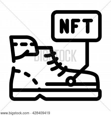 Virtual Blockchain-based Sneakers Line Icon Vector. Virtual Blockchain-based Sneakers Sign. Isolated