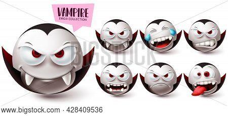 Emoji Vampire Emoji Vector Set. Emojis Halloween Mascot Character Icon Collection Isolated In White