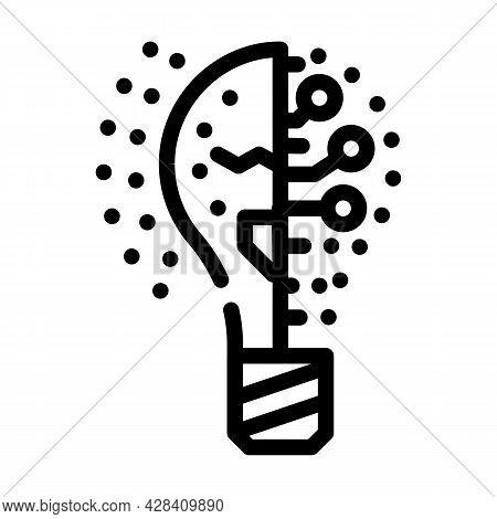 Lightning Innovative Idea Line Icon Vector. Lightning Innovative Idea Sign. Isolated Contour Symbol