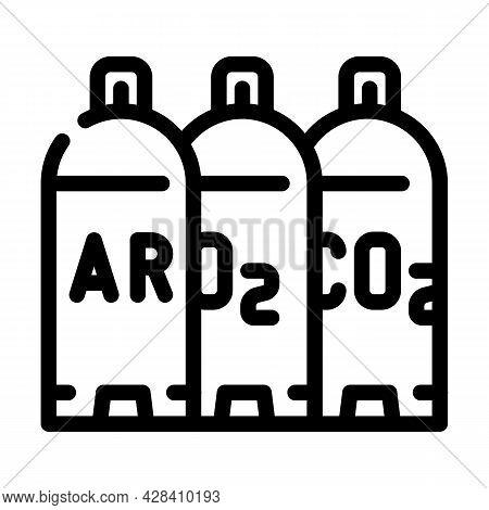 Welding Gases Argon, Oxygen, Carbon Dioxide Line Icon Vector. Welding Gases Argon, Oxygen, Carbon Di