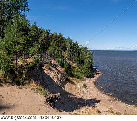 Panorama Of The Gulf Of Finland And A High 20-meter Cliff Near The Krasnaya Gorka Fort. Settlement F