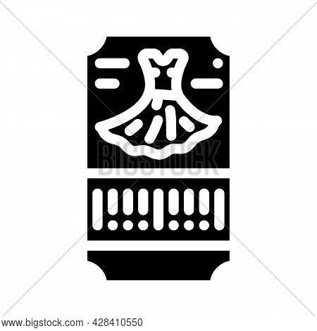 Dance Dress Ticket Glyph Icon Vector. Dance Dress Ticket Sign. Isolated Contour Symbol Black Illustr