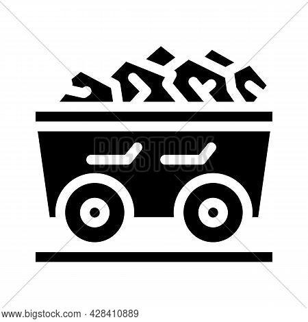 Coal Cart Glyph Icon Vector. Coal Cart Sign. Isolated Contour Symbol Black Illustration