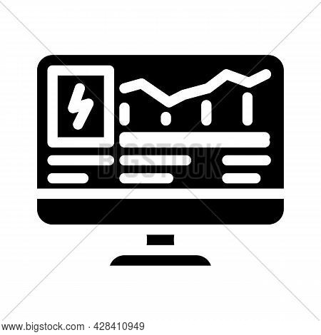 Computer Control Of Electricity Consumption Glyph Icon Vector. Computer Control Of Electricity Consu
