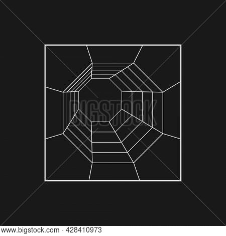 Retrofuturistic Octagonal Grid Tunnel In The Rectangle Frame. Cyber Design Element. Tunnel In Cyberp
