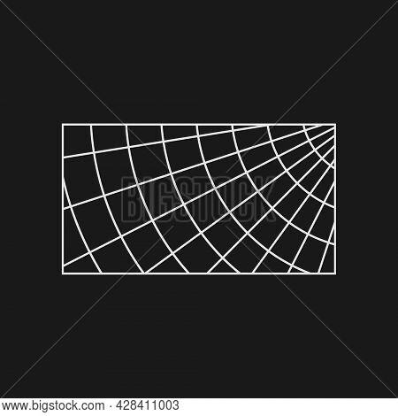Retrofuturistic Polar Grid In The Rectangle Frame. Cyber Retro Design Element. Grid In Cyberpunk 80s