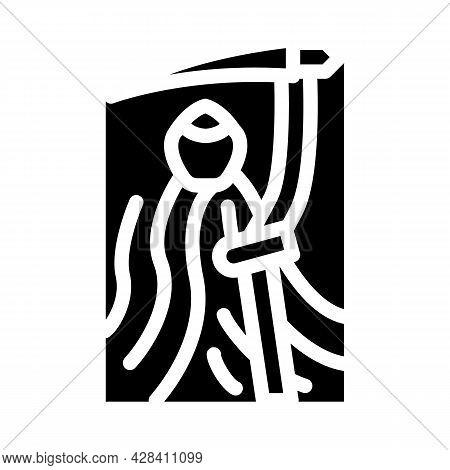 Grim Reaper Glyph Icon Vector. Grim Reaper Sign. Isolated Contour Symbol Black Illustration