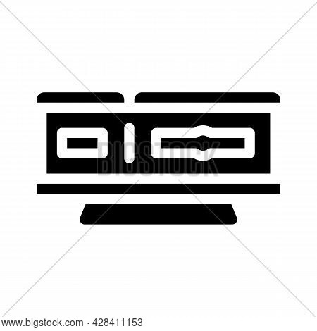 Coffin On Stand Glyph Icon Vector. Coffin On Stand Sign. Isolated Contour Symbol Black Illustration