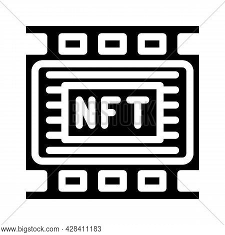 Nft Movies Glyph Icon Vector. Nft Movies Sign. Isolated Contour Symbol Black Illustration