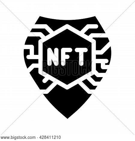 Nft Shield Glyph Icon Vector. Nft Shield Sign. Isolated Contour Symbol Black Illustration